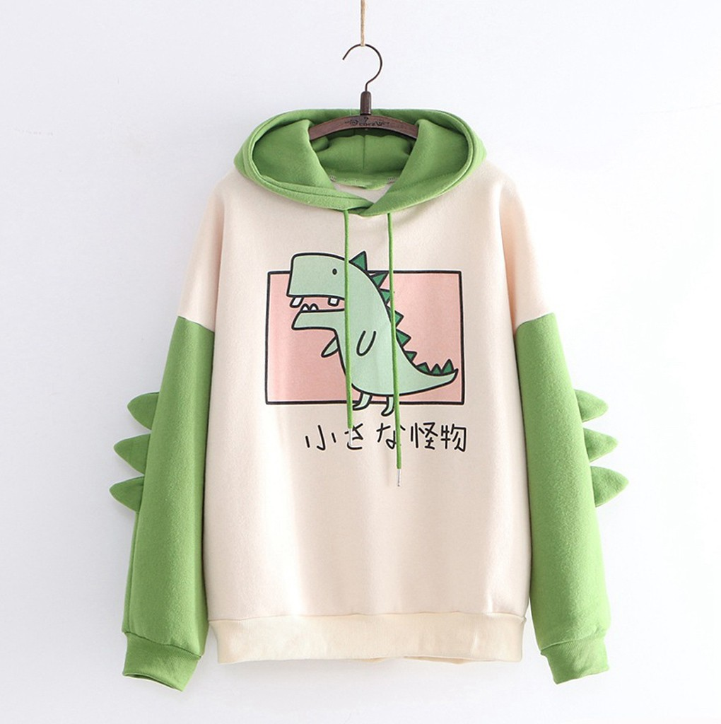 Hoodies Warm Tops Pullovers Horns Dinosaur Harajuku Teens Cute Kawaii New with Sweatshirts title=