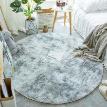 Round Rug Carpets Living-Room-Decor Modern-Mats Faux-Fur Fluffy Shaggy-Area Kids Room