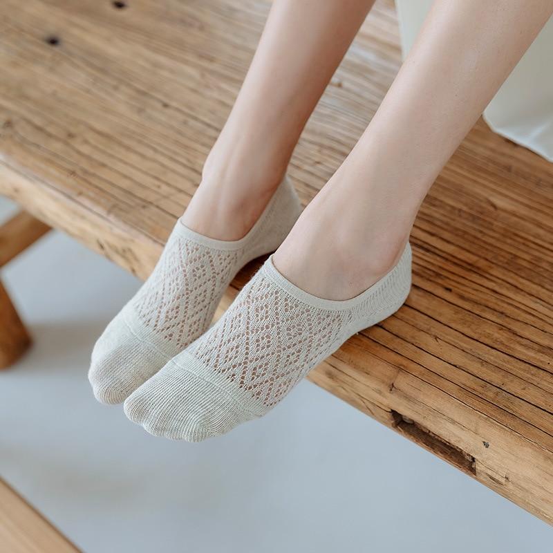 5 Pairs Women Non Slip Socks Invisible Summer Solid Color Mesh Ankle Boat Socks Silicone Female Cotton Slipper No Show Socks Super Offer F4c5 Cicig