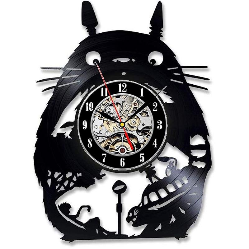 Studio Ghibli My Neighbor Totoro Vinyl Record Wall Clock Modern Design Cute Cartoon 3D Stickers Bedroom Clock Wall Watch 12 Inch