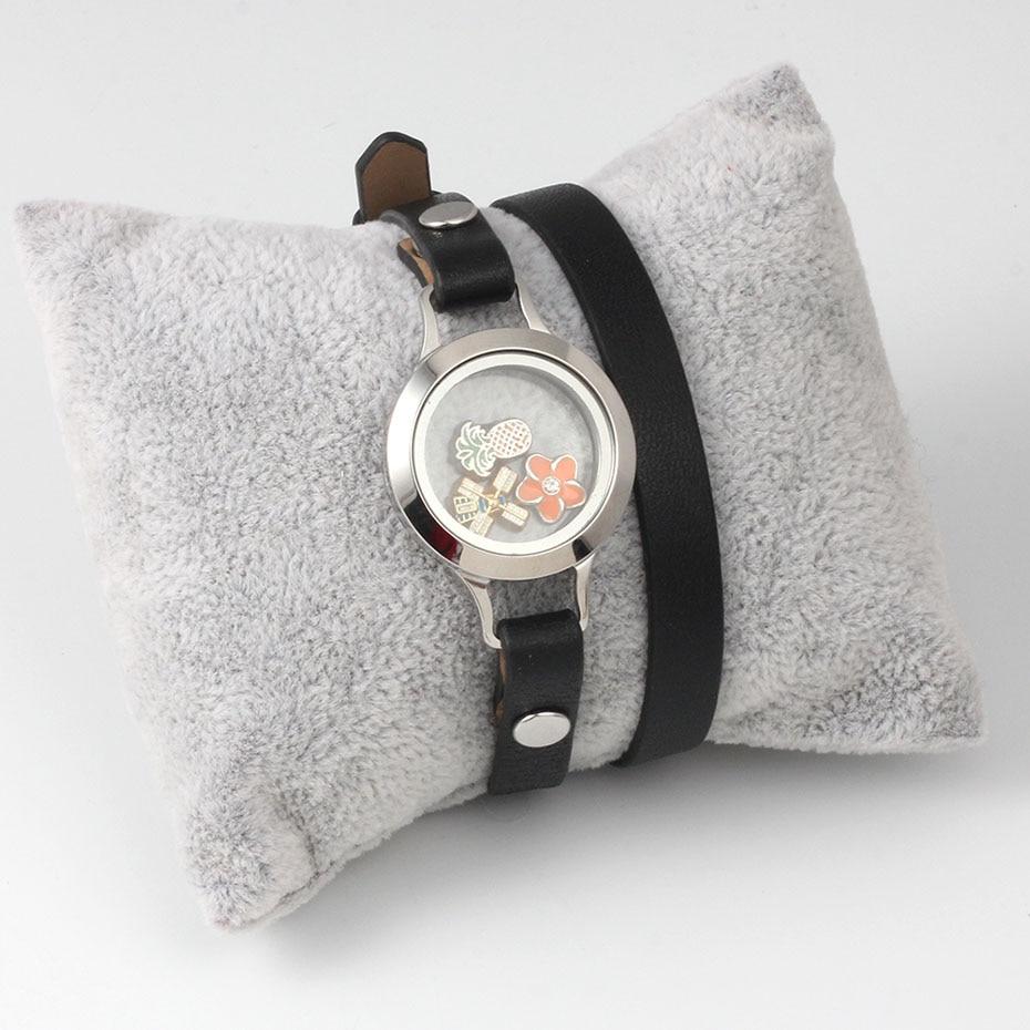 PU Leather Wrap Floating Charm Bead Bracelet Wristband Belt Screw Locket Base