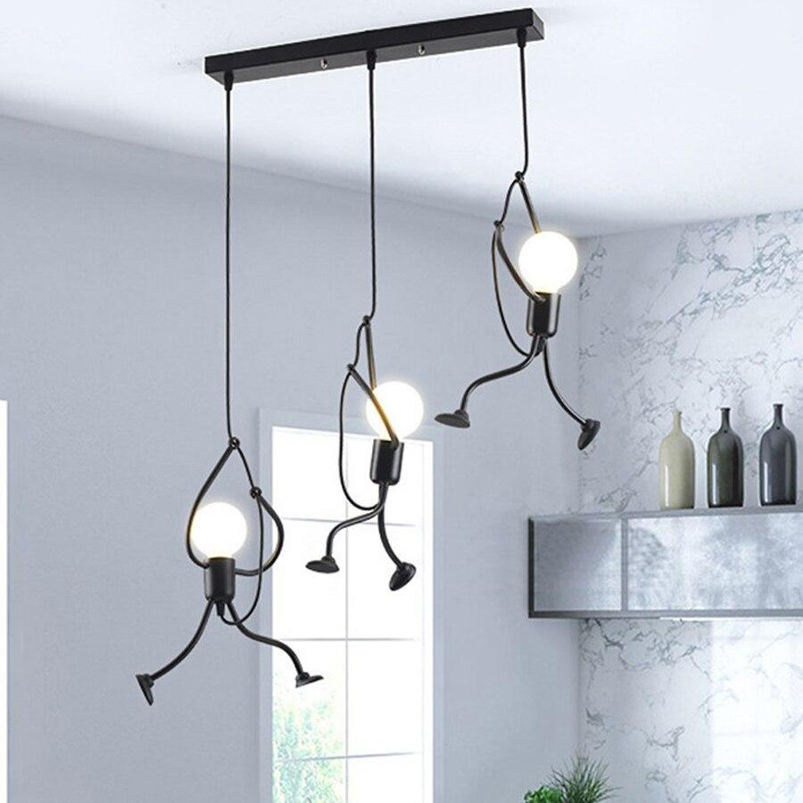 Thrisdar E27 Nordic Little Man Pendant Lights Climbing Man Pendant Lamp Cartoon Pendant Hanging Lamp Metal Cord Pendant Lamp