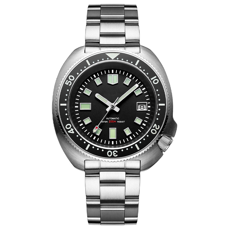 1970 Abalone Dive Watch 200m Sapphire crystal calendar NH35 Automatic Mechanical Steel diving Men's watch 14