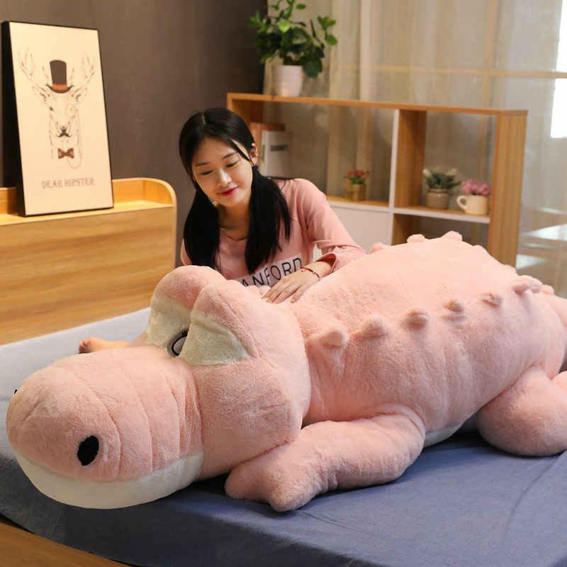 100-150 centímetros de Crocodilo Deitado Seção Mat Travesseiro Crocodilo de Pelúcia Macia Stuffed Animal de Pelúcia Brinquedos Dos Desenhos Animados Bonecos de Pelúcia Crianças presente da menina