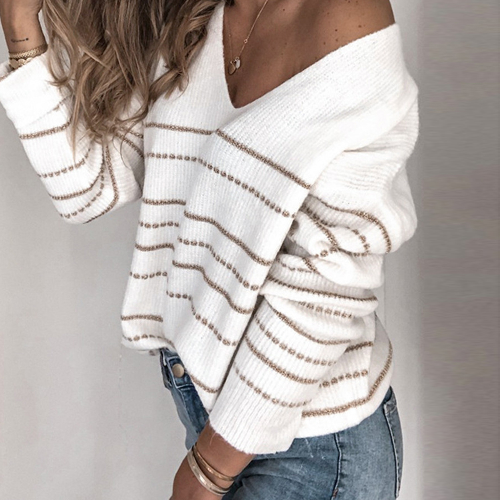 Lantch Women Sweaters Striped Long Sleeve Jumper Crew Neck Casual Knitted Pullover Tops