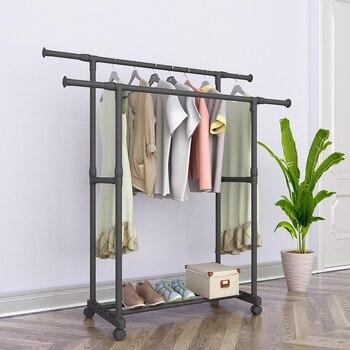 Floor Drying Rack Double Rod Telescopic Lifting Mobile Clothes Rail Clothes Rack Hanger Reinforced Minimalist Coat Rack