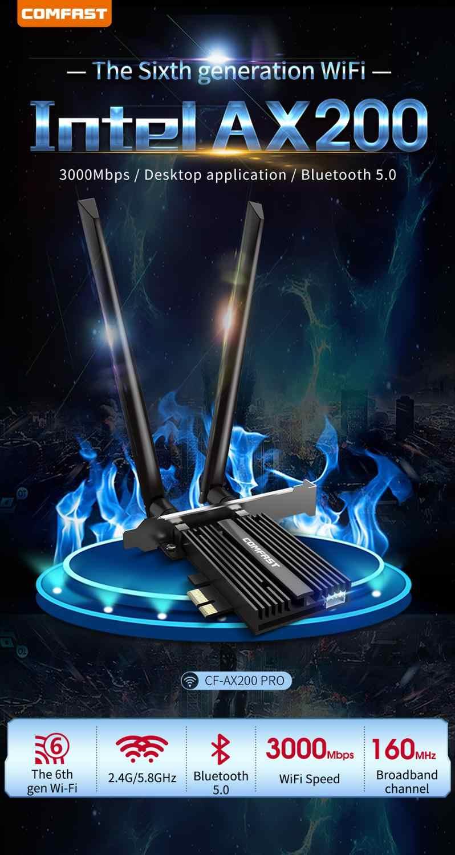 Intel pcie para desktop 3000mbps, placa pro ax200 802.11ax 2.4g/5ghz bluetooth 5.0 banda dupla adaptador de wifi 6 pci express
