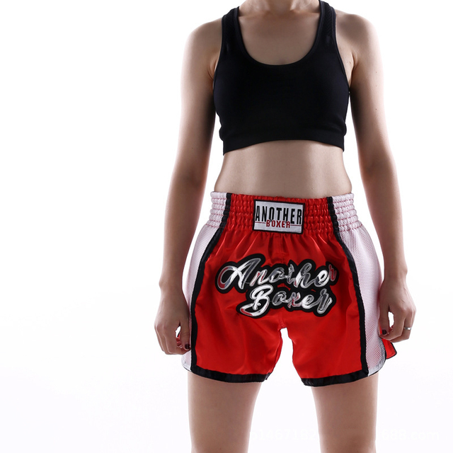 2021 Wholesale Embroidered Letter Contrast Color Splice Sports Women Muay Thai Shorts Custom Boxing Shorts Wholesale 4