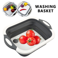 Kitchen Chopping Block Foldable Cutting Board Multi-Function Silicone Boards Vegetable Fruit Washing Basket
