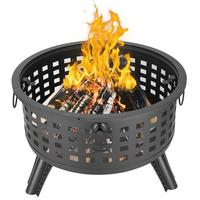 Outdoor Brazier Fireplace Fire Pit Burner for Camping Hiking Round Lattice Fire Bowl Portable Wood Burning Patio US Stock
