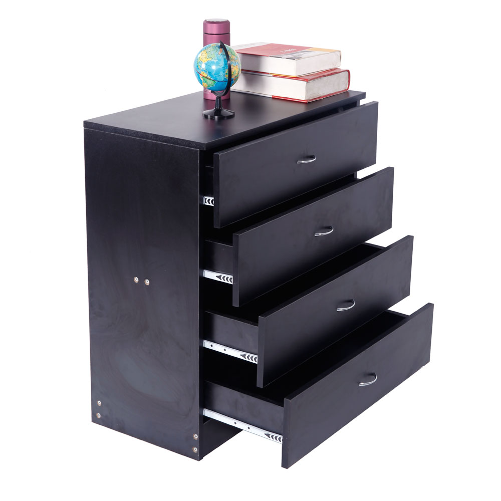 MDF Wood Simple 4-Drawer Dresser Black For Home Office Family Room Bedroom And Living Room Free Shipping