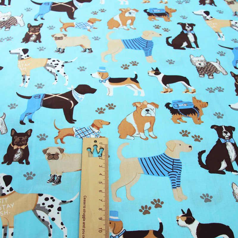 Pies zwierzęta trójkątny nadruk w geometryczne wzory 100% bawełna tkanina do robienia poduszek koc szycie dziecko dziecko prześcieradło