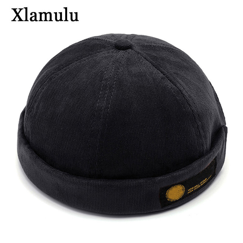 Vintage Dome Hat Docker Cap Autumn   Beanies   Winter Hats For Men Short Skull Cap Crimping Brimless Fashion Men&Women Knitted Hat