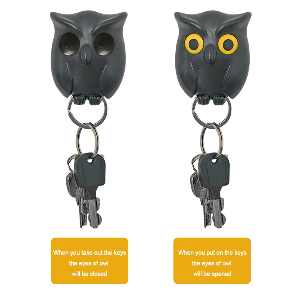 Wall Hanging Key Holder Innovative Key Hook Ddor Hanger Night Owl Magnetic Storage Rack Home Decorative Organizer