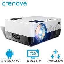 CRENOVA ใหม่ล่าสุด HD 1280*720 P วิดีโอโปรเจคเตอร์ Android 6.1 OS WIFI บลูทูธ 4300 Lumens Home Cinema ภาพยนตร์โปรเจคเตอร์