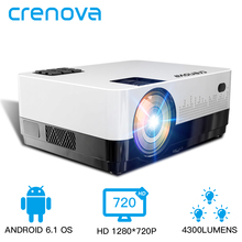 CRENOVA новейший HD 1280*720p видео проектор с Android 6,1 OS WIFI Bluetooth 4300 люмен Домашний кинотеатр кинопроектор