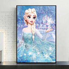 Disney Art Frozen Canvas Painting Anna and Elsa Cartoon Figure Posters and Prints Wall Art Pictures for Living Girls Room Decor