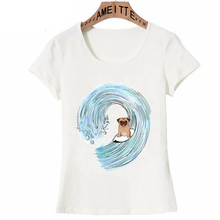 2020 Retro verano moda mujer camiseta Pug Surging acuarela estampado ropa informal chica Linda Casual camisetas divertidas para mujer