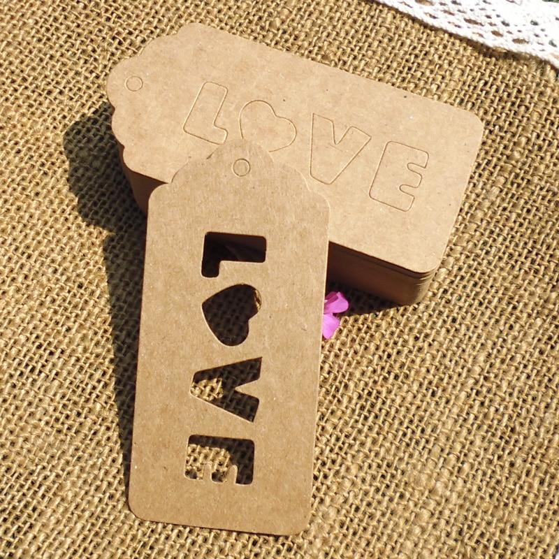 500pcs-String inclus, étiquette cadeau avec lettre creusée