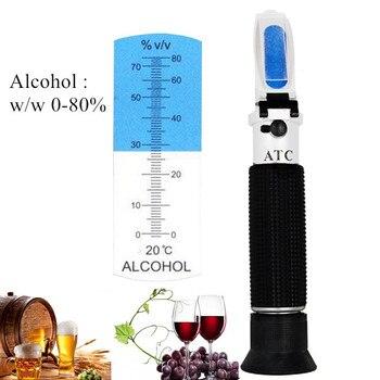 Hand held 0-80% Alcohol Refractometer ATC Liquor tester Alcoholometer Adjustable Manual Focusing Aluminum 40%off
