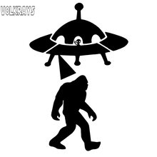 Volkrays Creatieve Auto Sticker Sasquatch Abduction Ufo Alien Bigfoot Accessoires Reflecterende Vinyl Decal Zwart/Zilver, 13 Cm * 8 Cm(China)