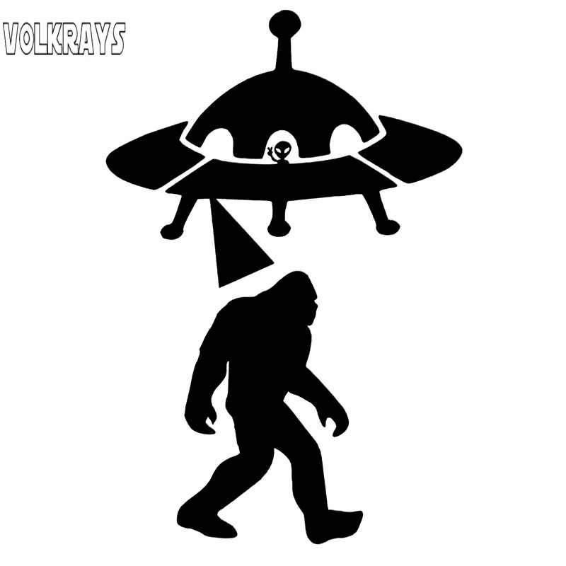 Volkrays創造カーステッカーサスクワッチabduction ufoエイリアンビッグフットアクセサリー反射ビニールデカール黒/シルバー、 13 センチメートル * 8 センチメートル