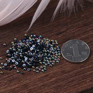 Image 5 - AB Black Half Pearl Mixed Size from 1.5mm To 10mm Craft ABS Resin Flatback Half round imitation pearls Nail DIY Decoration
