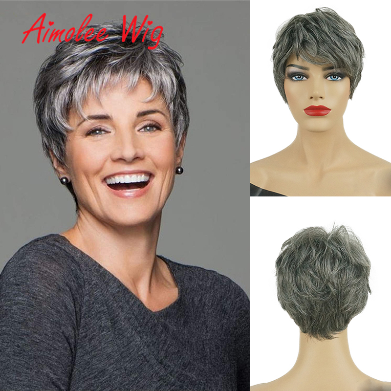 Synthetic Blend Wigs Natural Wave Short Wigs for Women Fluffy Ombre 70% Human Hair Wig Breathable Wig Cap