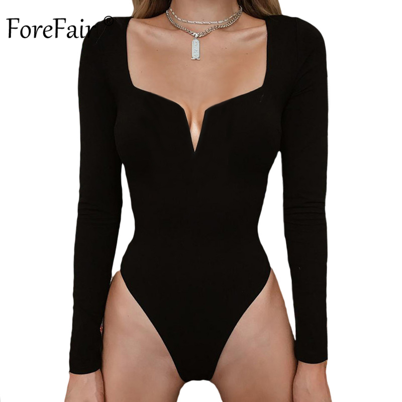 Forefair Sexy Long Sleeve Bodysuit for Woman Winter Autumn 2019 V Neck Strapless Solid White Black Sheath Bodysuit Women