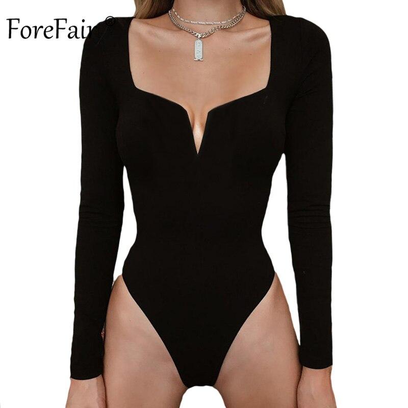 Forefair Sexy Long Sleeve Bodysuit For Women Winter Autumn 2019 V Neck Strapless Solid White Black Sheath Bodysuit Women