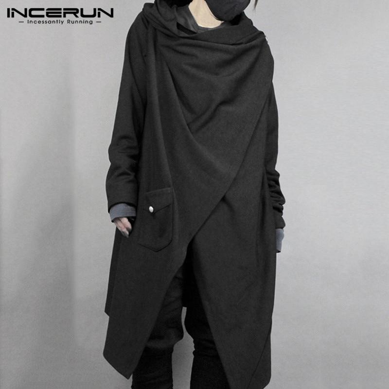 INCERUN Fashion Men Cloak Cape Punk Style Solid Irregular Coats Loose Long Sleeve Streetwear Cotton Japanese Style Men Trench