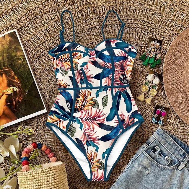 2020 nowy seksowny strój kąpielowy jednoczęściowy kobiety stroje kąpielowe wyciąć strój kąpielowy lato Push Up Monokini drukuj strój kąpielowy bikini kobiet