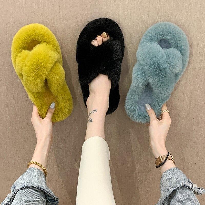 Женские домашние тапочки из хлопка, теплые меховые тапки из искусственного меха, без застежки, на плоской подошве, для зимы, 2021