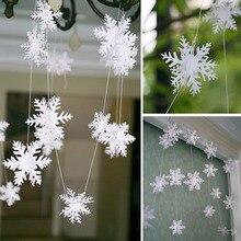 12 шт. 3 м 3D карты Бумага, украшение на Рождество, для дома, белый Снежинка из бумаги цветные гирлянды баннер для свадьбы праздник Красного вечерние
