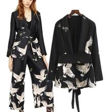 Primavera 2020, conjunto de ropa Vintage para mujer, Blazer estampado, pantalón Retro de pierna ancha, traje estampado de pájaro para mujer, trajes de pantalón, ropa para mujer