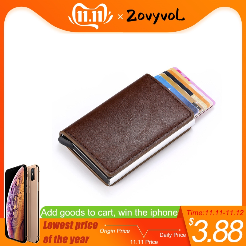 ZOVYVOL NEW Credit Card Case for Men Women Business Holder PU Leather Cards Purse Automatic Wallet