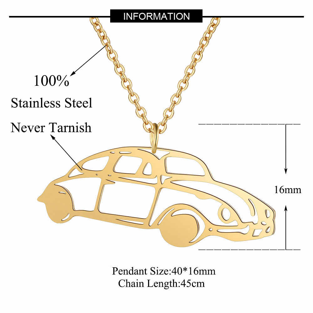 100% Real Stainless Steel Hollow Vintage Car Necklace Fashion Pendant Necklaces Trend Jewelry Necklaces Italy Design