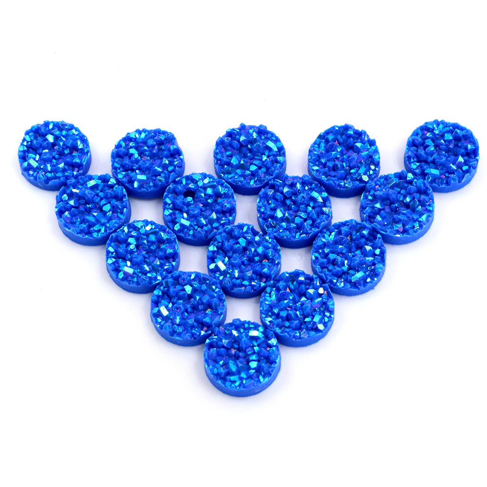 New Fashion 40pcs 12mm Blue AB Colors Natural Ore Style Flat Back Resin Cabochons For Bracelet Earrings Accessories-V4-25