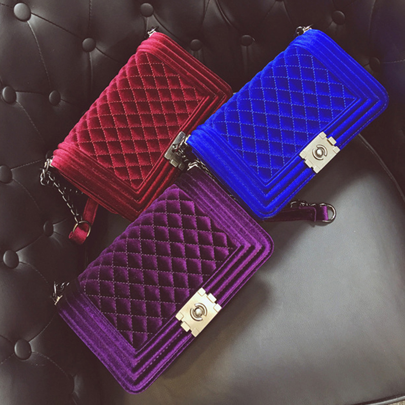 Croyance Fashion Ladies Velour Bag Women Messenger Handbag Shoulder Chain Female Bag Velvet Crossbody Luxury Designer New Purse