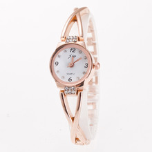 Fashion Women Bracelet Watch Minimalism Rhinestone Golden Sl