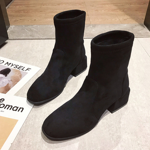 Image 2 - أحذية بوت نسائية بكعب مربع موديل 2020 أحذية ثلج أحذية نسائية غير رسمية للربيع أحذية بوت عصرية