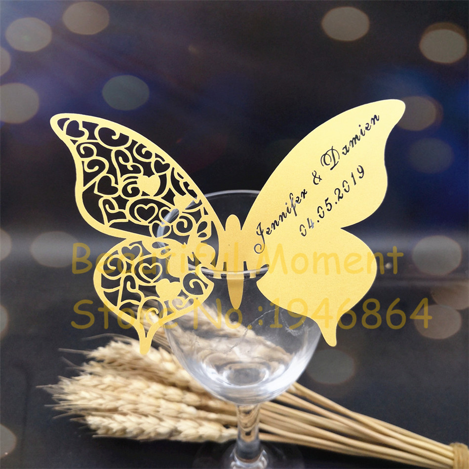 60X Wedding place cards,wedding table mark wine glass card, laser cut name  place card butterfly Wedding Favor can be customized|Cards & Invitations| -  AliExpress