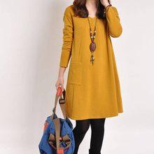 Vestido feminino moda casual sólido com decote em v solto bolso manga longa solto vestido feminino mini festa outono inverno vestido m840 #