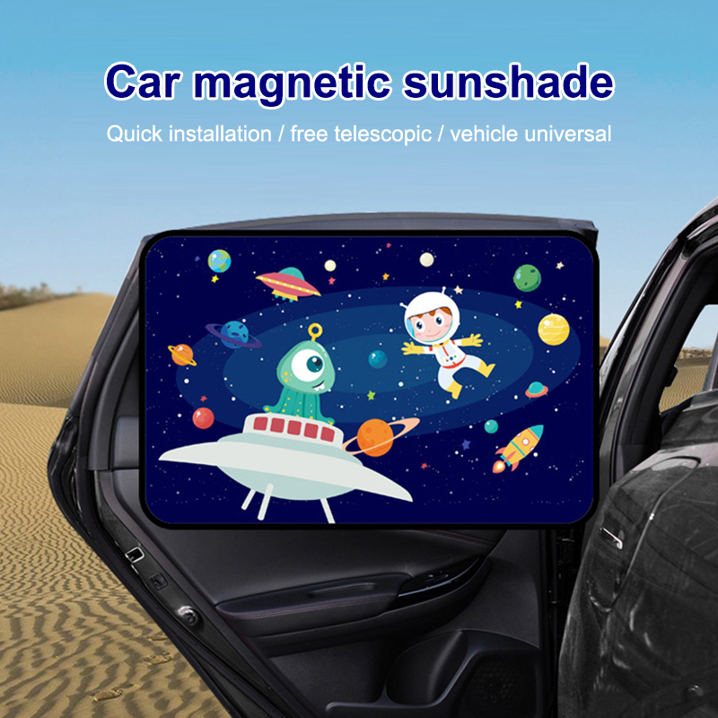 Magnetic Car Side Window Sunshade Cute Cartoon Car Window Curtain Sunscreen Insulation Auto Sun Shade Parasol Curtains 50 X 78cm