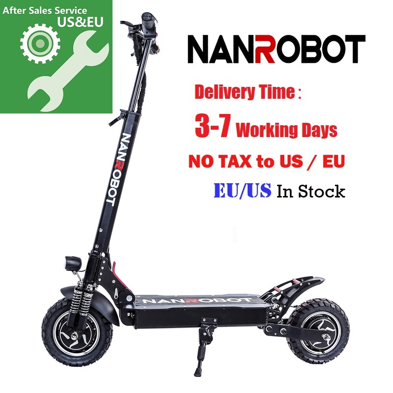 """NANROBOT D4+ Upgraded Adult Electric Scooter 10"""" 52V 18/23.4Ah 2000W Motor Powerful 45 Miles and 40 MPH 2 Wheel kick e Scooters"""
