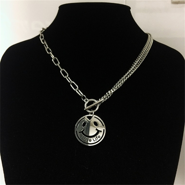 Hip Hop Cartoon Smiley Pendant  Alphabet Love Life Men and Women Titanium Steel Necklace OT chain & Clavicle Chain Accessories