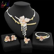 Yulaili Dubai Jewelry Sets Nigeria Bridal Wedding Accessory Crystal Flower Shape Stud Earrings Pendant Necklace Bracelet Ring lace jacquard embellished bracelet with flower shape ring