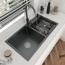 304 de aço inoxidável bacia dupla pia da cozinha topmount ou undermount bacia preto-cinza com acessórios de drenagem para casa dispositivo elétrico