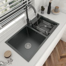 304 Stainless Steel Double Bowl Kitchen Sink With Faucet Topmount Or Undermount Basin Dark-Gray For Home Fixture Accessories