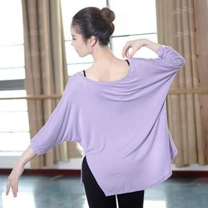 Image 5 - Camiseta de Ballet para adultos, blusa de manga larga con cuello redondo de murciélago, Tops de baile de gimnasia holgados de 4 colores, ropa moderna para mujer